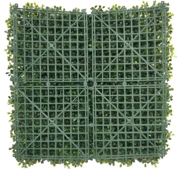 artificial boxwood panel with Small White Flowers-2