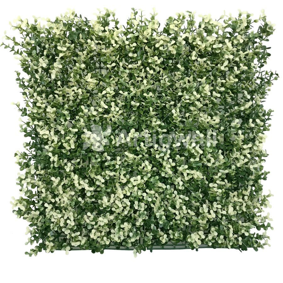 "Artificial Boxwood Hedge Mat Faux Boxwood Privacy Fence Screen White Color 20""x20"""