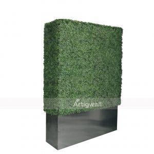 artigwall boxwood hedge with planter