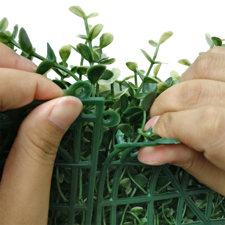 Artificial Boxwood Hedge Mat Faux Boxwood Privacy Fence Screen White Color -2