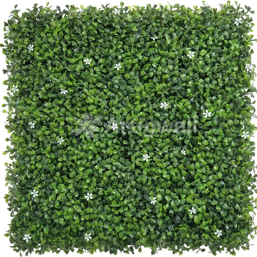 artificial boxwood panel with Small White Flowers